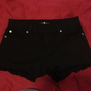 7 for all mankind black denim shorts 26